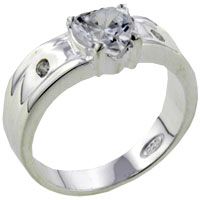 Rings - hearts sterling silver cz engagement right hand ring Image.
