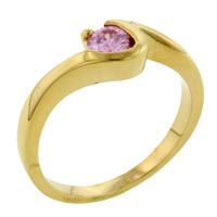 Rings - size7  gold sterling silver pink cz ring gift jewelry fashion Image.