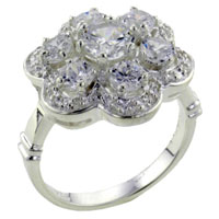 Rings - round cut cz flower right hand ring Image.