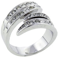Rings - new fashion jewelry size7  clear cz cubic zirconia whirl ring gift Image.