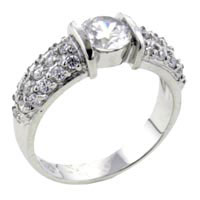 Rings - size7  round cz pave sterling silver ring gift jewelry fashion Image.