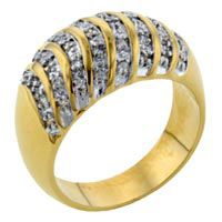 Rings - sparkling size7  stripe cz glossy band ring in14 k gold plated jewelry Image.
