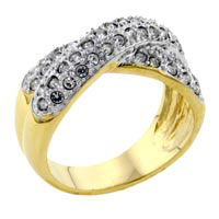 Rings - fashion size7  crisscross cz ring in brass highway ring two tone Image.