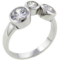 Rings - three varied round cut czs rings sterling silver promise anniversary ring Image.