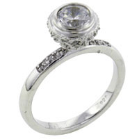 Rings - round cz encustred sterling silver jewelry ring gift fashion Image.