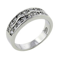 Rings - double wide wavy studded bands band sterling silver cz right hand ring Image.
