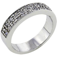 Gifts Center - size7  double wide cz encrusted band ring Image.
