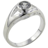 Rings - size7  round cz eye sterling silver ring gift jewelry fashion Image.