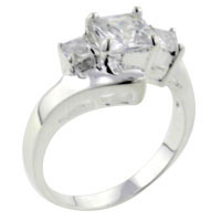 Rings - size7  square triple cz sterling silver ring gift jewelry fashion Image.