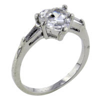 Rings - size7  cz heart baguette accents sterling silver ring gift fashion jewelry Image.