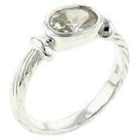 Rings - size7  oval stone cz sterling silver ring gift fashion jewelry Image.