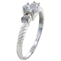 relation - oval cut cz with 2  square cut cz sides ring Image.
