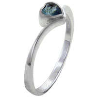 Rings - size7  heart cz aquamarine sterling silver jewelry ring gift fashion Image.