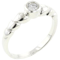 Rings - classic size7  round cut clear cz intricate design band ring jewelry Image.