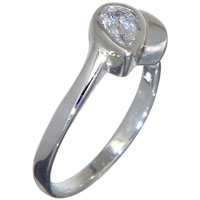 Rings - angled pear cut cubic zirconia solitaire rings sterling silver promise anniversary ring Image.