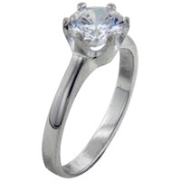 Rings - fashion size7  round clear cz 925  sterling silver ring gift jewelry Image.