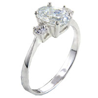 Rings - oval cut cz with 2  round czs promise ring Image.