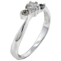 Rings - round cz leaves sterling silver ring gift jewelry fashion Image.