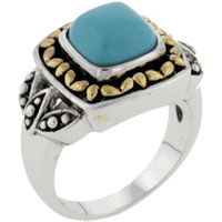 Theme Jewelry - size7  square faux turquoise ring class Image.