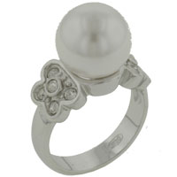 Mother Of Pearl Jewelry - size7  white pearl with cz butterfly sides ring Image.