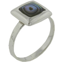 Sterling Silver Jewelry - square cut abalone sterling silver rings Image.