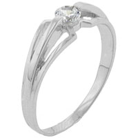 Rings - classic 925  sterling sliver size7  clear cz trident ring jewelry Image.