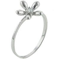 Sterling Silver Jewelry - size7  round cz daisy sterling silver ring gift fashion jewelry Image.