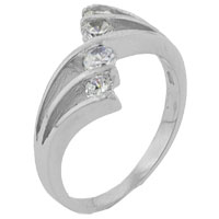 Rings - size7  round cz quad split sterling silver ring gift fashion jewelry Image.