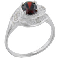 Sterling Silver Jewelry - size7  oval cz garnet twist sterling silver ring gift fashion jewelry Image.