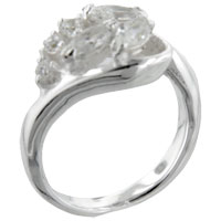 Sterling Silver Jewelry - size7  marquise &  round cz sterling silver ring gift fashion jewelry Image.