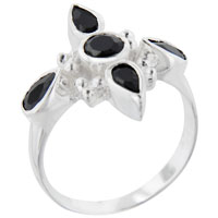 Sterling Silver Jewelry - new faux onyx cross 925  sterling silver ring gift jewelry fashion Image.