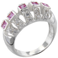 Sterling Silver Jewelry - square cut pink cz canpy ring Image.