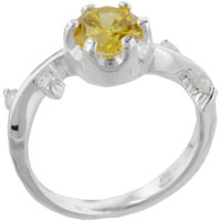 Rings - size7  round citrine sterling silver ring gift fashion jewelry Image.