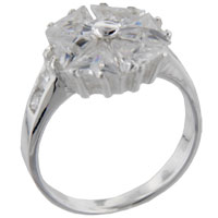 Rings - trillion cut pinwheel sterling silver cz engagement right hand ring Image.