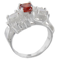Sterling Silver Jewelry - size7  round red cz 925  sterling silver ring gift fashion jewelry Image.