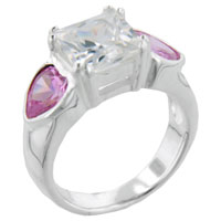 Rings - princess cut cz &  pink hearts ring Image.