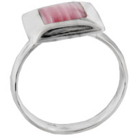 Rings - size7  red coral square sterling silver jewelry ring gift fashion Image.