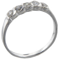 Sterling Silver Jewelry - size7  round cz coil sterling silver ring gift fashion jewelry Image.