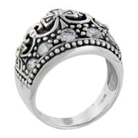 Rings - rhodium plated sterling silver round cut cz roya tiara ring size  7 Image.