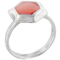 Rings - size7  pink hexagonal red coral shell sterling silver jewelry ring gift fashion Image.