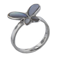 Mother Of Pearl Jewelry - 925  sterling silver mother of pearl adorable butterfly inlay ring Image.