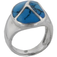 Rings - size7  turquoise leaf design ring Image.
