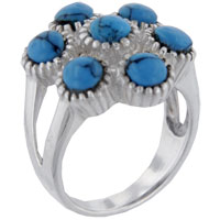 Rings - sterling silver fashion turquoise flower bouquet motif cluster ring Image.
