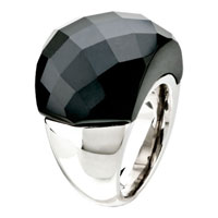 Gifts Center - size7  classic black cut round agate Image.
