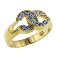 Rings - round cut cz hook right hand ring Image.