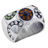 relation - size8  round cut multicolor cz ring Image.