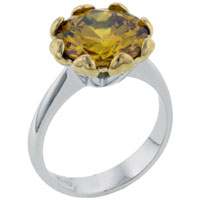 Rings - size8  round citrine cz sterling silver gift ring jewelry fashion Image.