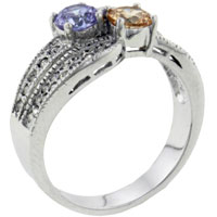 Rings - size8  round cut tri color cz ring Image.