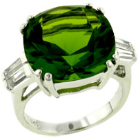 Rings - glam asscher cut periodot green cz promise ring 925  sterling silver Image.