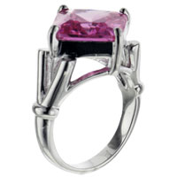 Rings - size8  square cut pink cz sterling silver ring Image.